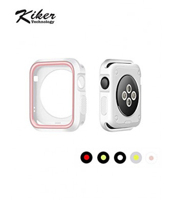 KikerTech Rugged Armor Apple Watch Case with Resilient Shock Absorption for Apple Watch Series 3 /2 /1, Flexible, TU Protection (WhiteandPink, 38MM)