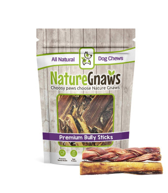 Nature Gnaws 5-6 inch Bully Sticks Combo (6 Count) - 100% Natural Dog Chews