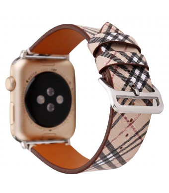 42/44mm Leather Watch Band for Apple Watch Series 1 2 3 4 Plaid Strap for iwatch Belt Wristwatch Bracelet.(Plaid 1-42/44)