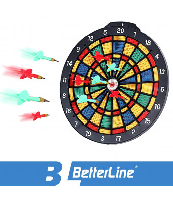 BETTERLINE Safety Dart Board Set with 6 Safe Soft Plastic Tip Darts - 13.8 Inches (35 cm) Diameter Dartboard - Great for Kids, Adults, Office and Game Room