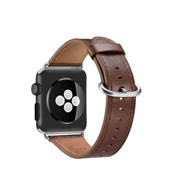 Efly Compatible iWatch Band 38mm 40mm, Top Grain Leather Band Replacement Strap for iWatch Series 4,Series 3,Series 2,Series 1,Sport, Edition (38mm 40mm) (Brown, 38mm 40mm)