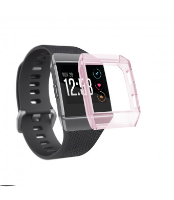 for Fitbit Ionic Case, Tonsya Crystal TPU Soft Accessory Protective Case Frame Cover Shell for Fitbit Ionic Smart Fitness Watch (Crystal Pink)