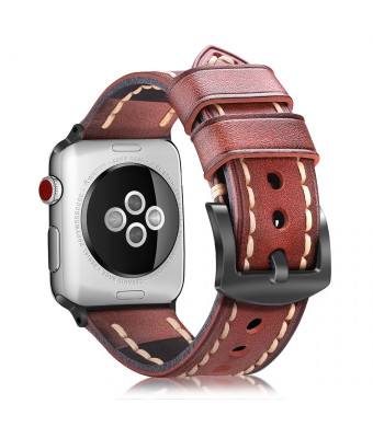 Fintie Leather Band for Apple Watch 44mm 42mm, Vintage Cowhide Genuine Leather iWatch Replacement Wrist Strap Compatible with Apple Watch Series 4 3 2 1 Sport Nike+ Edition - Cognac