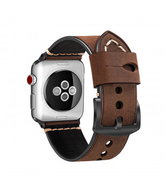 Fintie Leather Band for Apple Watch 44mm 42mm, Premium Vintage Genuine Leather iWatch Strap Replacement Bands Compatible with Apple Watch Series 4 Series 3 Series 2 Series 1 - Coffee