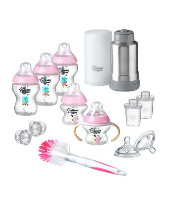 Tommee Tippee Closer to Nature Newborn Baby Feeding Starter Set - Pink, Girl