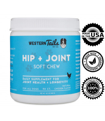 Western Tails Hip and Joint Supplement for Dogs: Glucosamine + Chondroitin + Yucca + Organic Turmeric + MSM + Vitamin E, Dog Supplement for Hip and Joint Pain, Hip Dysplasia, Arthritis, Made in USA