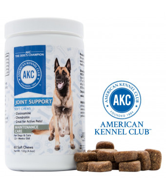 American Kennel Club AKC Joint Support Supplements For Dogs With Glucosamine, Chondroitin and Fish Oil - Advanced Dog Joint Pain Relief - 60 Soft Chewable Tablets, Made In USA Only