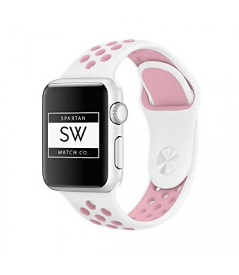 Watch Band for Apple  Soft Silicon Band, Replacement Wristband, Classic Sports Strap Bracelet for iWatch Series  Unisex  White/Pink- 42mm by Spartan Watch Co.