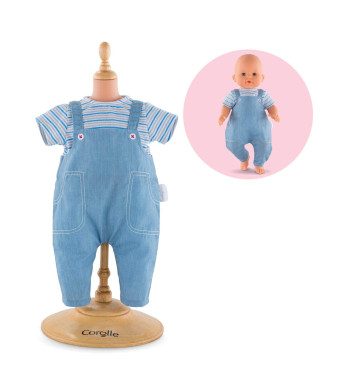 "Corolle Mon Grand Poupon 14"" Striped T-Shirt and Overalls Toy Baby Doll"