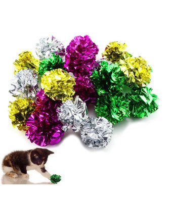 TKOnline 20 Pack Mylar Crinkle Balls Cat Toys Interactive Shiny Metallic Colors, Mixed Color