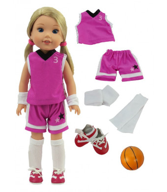 "Purple Basketball Uniform-Fits 14"" Wellie Wisher Dolls 