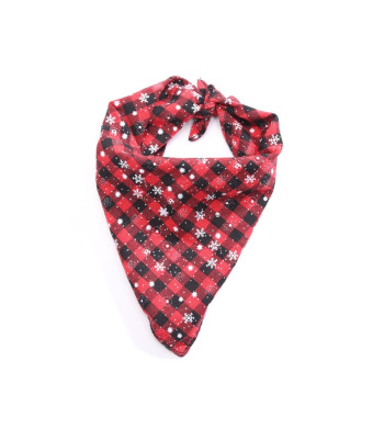 Stock Show Pet Dog Bandana Triangle Bibs Scarf Cute Chirstmas Snowflakes Plaid Printing Reversible Kerchief Accessories for Small to Large Dogs Cats Breeds