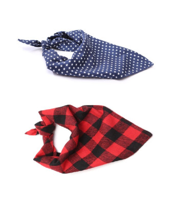 Stock Show 2Pack Pet Plaid Bandanas Dog Cat Cute Fashion Xmas Snowflakes Double Layer Cotton Triangle Bibs Scarves for Small Medium Large Dogs Breeds Cats