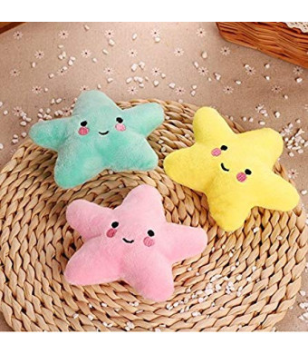Stock Show 3Pcs Pet Dog Squeak Toys Plush Small Star Shape Teeth Cleaning Massager Playtoys for Small Dogs Cats, Yellow + Green + Pink