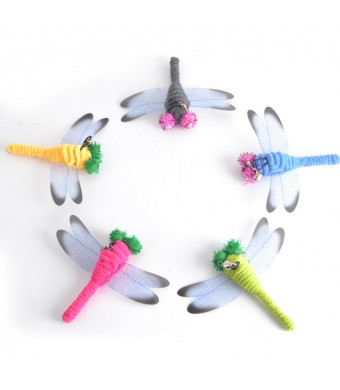 UEETEK 5 Pcs Replacement Dragonfly for Interactive Cat and Kitten Toy Wands