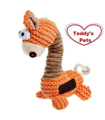 Elite Cute Orange Giraffe Stuffed Teddy's Pets Dog Chew Squeak Toy Toy for Small Medium Dog