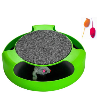 AroPaw Cat Toys Interactive - Cat Toy with Rotating Running Mouse and A Two in One Scratching Pad - Catch The Mouse - Catnip Toy Mouse (Catnip Not Included) - Quality Kitten Toys