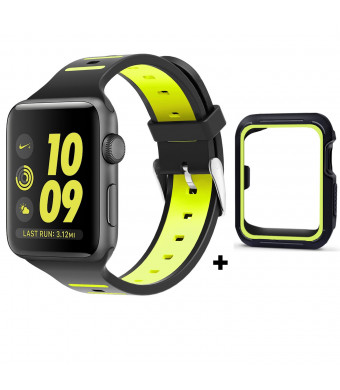 Apple Watch Band 42mm with Free Case, Jimbird Silicone Sport Straps Loop Replacement Wristband Bracelet for Apple Watch Series 3 / Series 2 / Series 1 / Nike, Sport, Edition