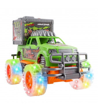 Friction Powered Off-Road SUV Jungle Dinosaur Car Toy with Lights and Sounds