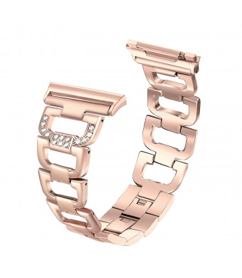 bayite Bling Bracelet for Fitbit Ionic Bands for Women Adjustable Stainless Steel Smart Watch Straps Rhinestones Replacement Metal Accessory