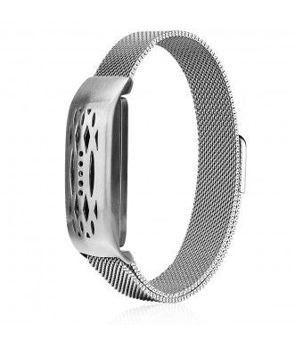 CAGOS Compatible Fitbit Flex 2 Bands, Stainless Steel Milanese Loop Wrist Metal Mesh Accessory Replacement for Fitbit Flex 2 (Milanese Silver)