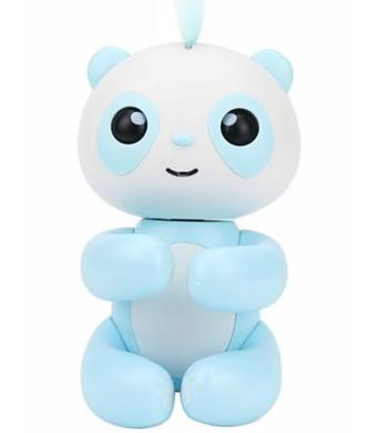 Dozenla Finger Intelligent Interactive Toy Cartoon Panda Shape Electronic Sleep Robot Puppets with Voice for Kids (Blue)