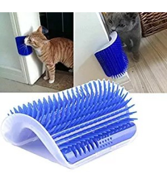 Homiego Cat Self Groomer with Catnip, Cat Corner Massage Brush Grooming Comb Toy Tool for Cats with Long and Short Fur