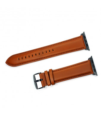 IVAPPON Extra Long Genuine Leather Replacement Straps Replacement for Apple Watch 88x140mm Brown Band Black Adapter