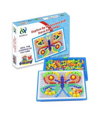 HenMerry Creative Mushroom Nails Mosaic Pegboard Children's Educational Jigsaw Toys Puzzle Game Building Block Toys ...
