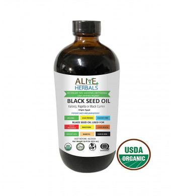 Alive Herbal BLACK SEED OIL - Egypt- Nigella Sativa - VIRGIN 100% Raw Organic Cold Pressed, Unfiltered, Vegan and Non-GMO, No Preservatives and Artificial Color- Glass Bottle 16 OZ.