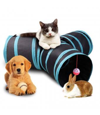 Aolan Cat Tunnel 3/5 Way Tunnels Extensible Collapsible Cat Play Tunnel Toy Maze Cat House with Pompon and Bells for Cat Puppy Kitten Rabbit with Cat Fish Catnip Toy