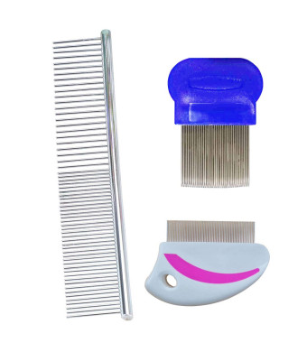 Dog Grooming Comb Flea Comb and Greyhound Comb for Dogs and Cats Tear Stain Remove with Short to Long Hair, Crust, Mucus and Stains from You