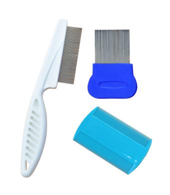 Flea comb ~ Pet Dog Hair Flea Comb Stainless Pin Dog Cat Grooming tick lice Comb Clean Tool ~Cat flea comb ~ 3 Pcs