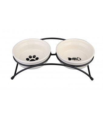 Double Ceramic Cat Bowl Set Food Feeder with Stand Raised for Cat Dog