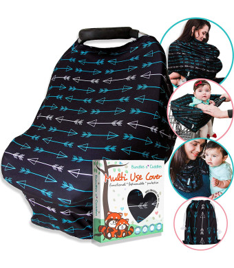 Carseat Canopy Nursing Cover for Breastfeeding - Soft Stretchy Breathable - Car Seat Covers for Babies High Chair, Shopping Cart, Baby Stroller - Boys or Girls - Gift Set w Free Bag (Black-Arrows)