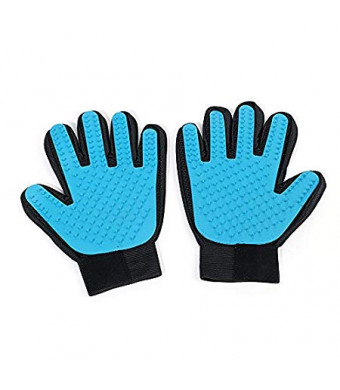 W-Touch Sky Blue Pet Deshedding Tool Dog Grooming Gloves Cat Short Long Hair Efficiently Remove Loose Hair Reduce Shedding Glove for Small Medium and Large Pet