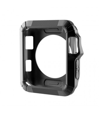 Clatune Shock Resistant TPU Case Cover Rugged Protective Bumper Shell Compatible with 38mm Apple Watch Series 3/2/1 - Black