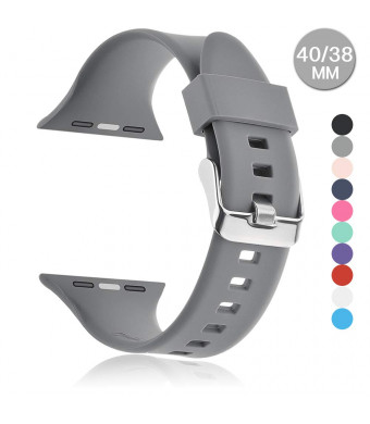 Compatible with Apple Watch Sports Band Series 4 (44mm, 40mm) Series 3 Series 2 Series 1 (42mm, 38mm)   Soft Silicone Replacement Band (Gray, 44mm/42mm)