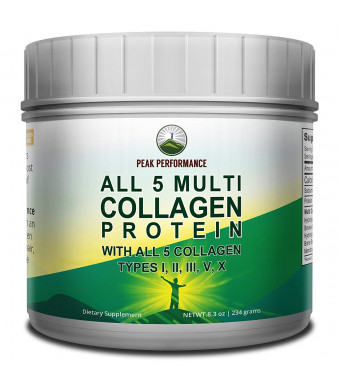 ALL 5 MULTI Collagen Protein Powder Peptides By Peak Performance. Multi-Collagen Contains All Types I, II, III,V, X | Keto, Paleo Friendly With Hydrolyzed Bovine, Marine, Chicken, Bone Broth Collagens
