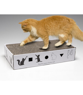 Barlin Gallery Oversized Corrugated Cardboard Cat Scratcher with Surprise Toy and Funny Quote: Dogs Have Owners, Cats Have Staff! Black and White Great Gift Idea for The Cat Lover in Your Life!