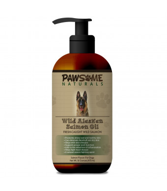 Pure Natural Wild Alaskan Salmon Oil For Dogs: Liquid Supplement Rich in Omega-3-6 Fatty Acids (EPA and DHA). Supports Healthy Skin, Coat, Heart and Joint Function and Boosts The Immune System - 16 OZ