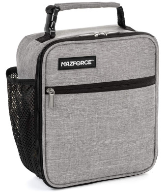 MAZFORCE Original Lunch Box Insulated Lunch Bag - Tough and Spacious Adult Lunchbox to Seize Your Day (Wolf Grey - Lunch Bags Designed in California for Men, Adults, Women)