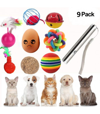 Runfish Cat Toys Variety Pack - Including Cat Lazer Tease Led Light Pen, Catnip balls Toy, Bells, Tumbler toys for Kitty - 9 pcs/Set