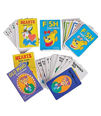 Classic Card Games Set, Valentines Gift, Pack Includes  Hearts  Old Maid  Go Fish  Games, 3 of Each Game for Kids and Adults Alike, by 4E's Novelty,