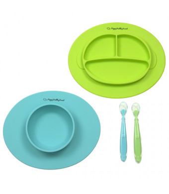 Silicone Bowl and Silicone Plate Easily Wipe Clean! Self Feeding Set Reduces Spills! Spend Less Time Cleaning After Meals with a Baby or Toddler! Set Includes 2 Colors (Turquoise/Lime Green)