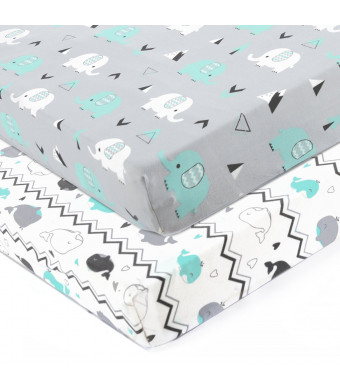 Stretchy Fitted Crib Sheets Set-Brolex 2 Pack Portable Crib Mattress Topper for Baby Boys Girls,Ultra Soft Jersey,Full Standard,Elephant and Whale