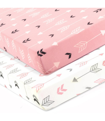 Stretchy Fitted Crib Sheets Set-Brolex 2 Pack Portable Crib Mattress Topper For Baby Girls Boys,Ultra Soft Jersey,Full Standard,Pink and White Arrow
