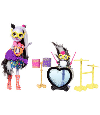 Enchantimals Rockin' Drumset Playset with Sage Skunk Doll and Caper Figure