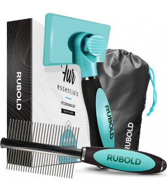 RUBOLD Dog Grooming Kit - Slicker Brush for Dogs with Fur Ejector - Greyhound Dog Comb - with Bonus Carrying Case - The Best Brushes for Shedding - Suitable for Any Dog Cat or Other Pet