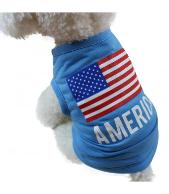 Kim88 Dog Puppy Pet American Flag Sleeveless Vest Shirt Clothes For Small Dog (XS)